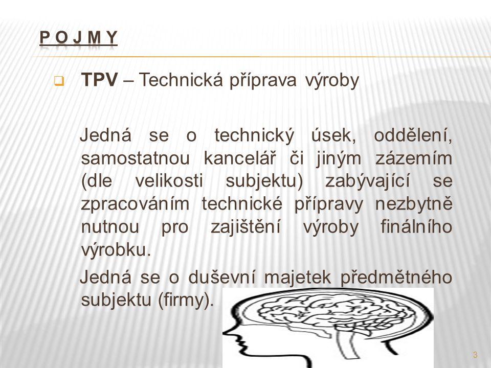 TPV – Technická příprava výroby Jedná se o technický úsek, oddělení, samostatnou kancelář či jiným zázemím (dle velikosti subjektu) zabývající se zpracováním technické přípravy nezbytně nutnou pro zajištění výroby finálního výrobku.
