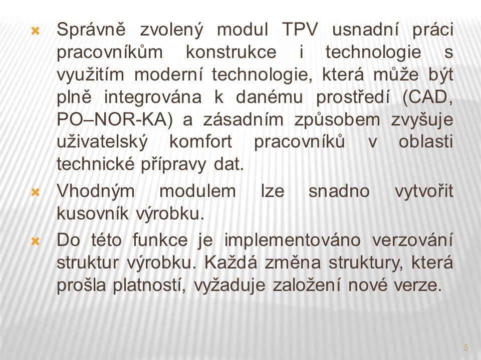 5  Správně zvolený modul TPV usnadní práci pracovníkům konstrukce i technologie s využitím moderní technologie, která může být plně integrována k danému prostředí (CAD, PO–NOR-KA) a zásadním způsobem zvyšuje uživatelský komfort pracovníků v oblasti technické přípravy dat.