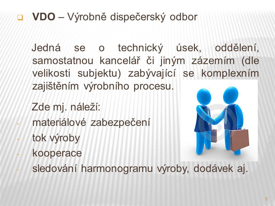 8  VDO – Výrobně dispečerský odbor Jedná se o technický úsek, oddělení, samostatnou kancelář či jiným zázemím (dle velikosti subjektu) zabývající se komplexním zajištěním výrobního procesu.
