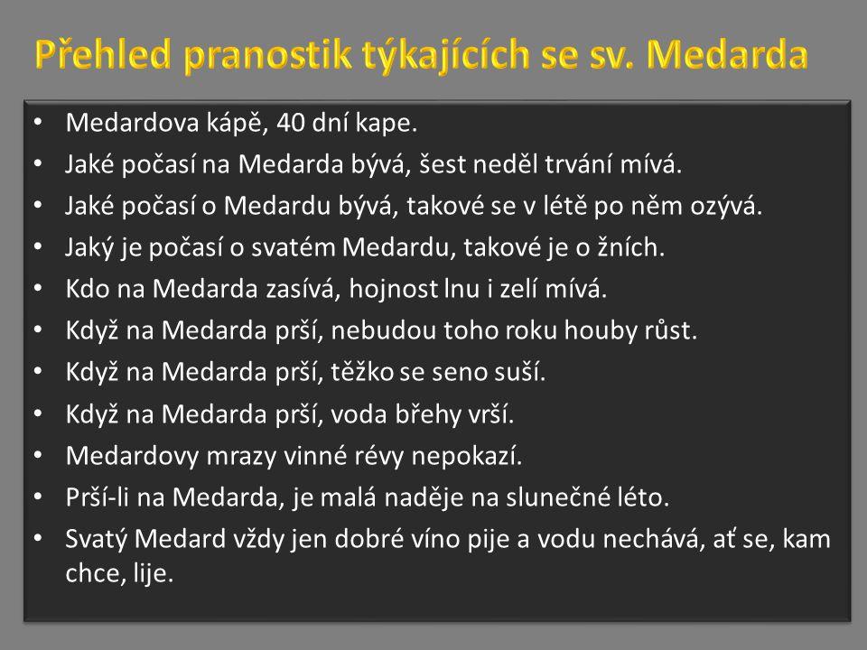 Medardova kápě, 40 dní kape. Jaké počasí na Medarda bývá, šest neděl trvání mívá.
