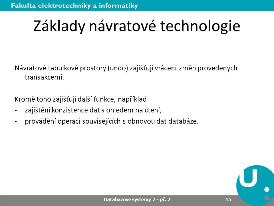 Základy návratové technologie Návratové tabulkové prostory (undo) zajišťují vrácení změn provedených transakcemi. Kromě toho zajišťují další funkce, n