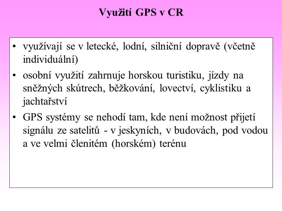 Využití GPS v CR využívají se v letecké, lodní, silniční dopravě (včetně individuální) osobní využití zahrnuje horskou turistiku, jízdy na sněžných sk