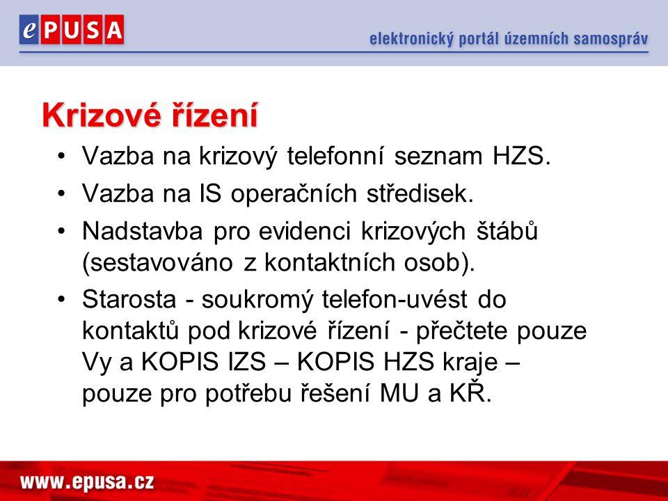 Krizové řízení Vazba na krizový telefonní seznam HZS. Vazba na IS operačních středisek. Nadstavba pro evidenci krizových štábů (sestavováno z kontaktn
