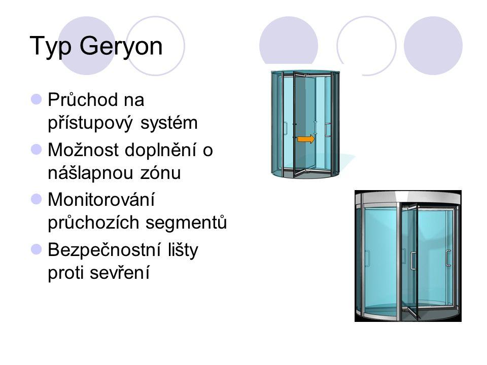 Typ Geryon Průchod na přístupový systém Možnost doplnění o nášlapnou zónu Monitorování průchozích segmentů Bezpečnostní lišty proti sevření