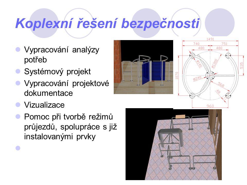 Koplexní řešení bezpečnosti Vypracování analýzy potřeb Systémový projekt Vypracování projektové dokumentace Vizualizace Pomoc při tvorbě režimů průjezdů, spolupráce s již instalovanými prvky