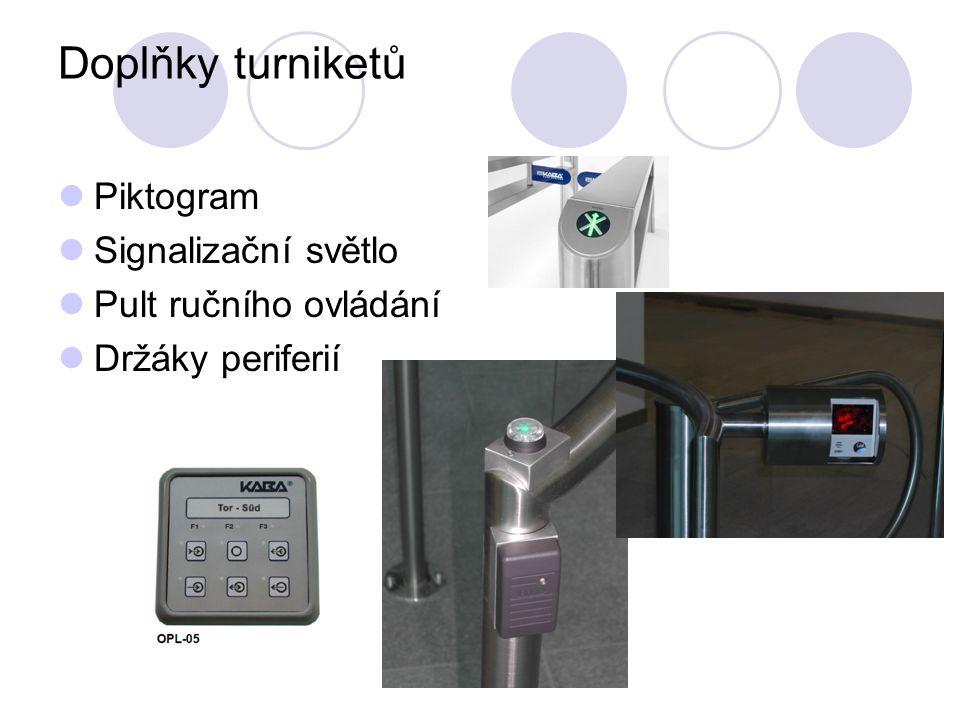 Doplňky turniketů Piktogram Signalizační světlo Pult ručního ovládání Držáky periferií