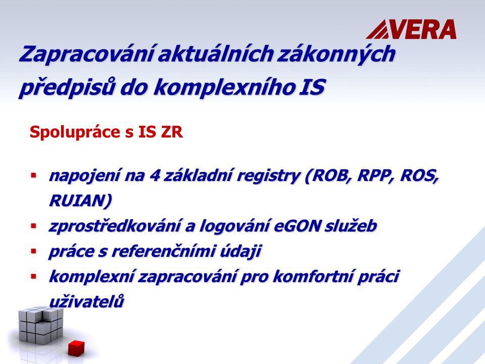 Zapracování aktuálních zákonných předpisů do komplexního IS Spolupráce s IS ZR  napojení na 4 základní registry (ROB, RPP, ROS, RUIAN)  zprostředkování a logování eGON služeb  práce s referenčními údaji  komplexní zapracování pro komfortní práci uživatelů