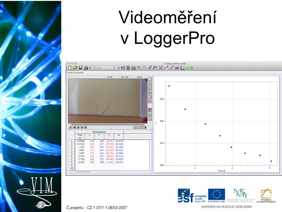Č.projektu : CZ.1.07/1.1.06/03.0057 Videoměření v LoggerPro