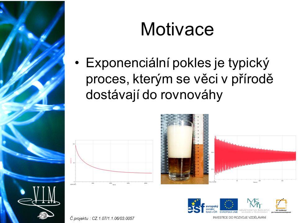 Č.projektu : CZ.1.07/1.1.06/03.0057 Motivace Exponenciální pokles je typický proces, kterým se věci v přírodě dostávají do rovnováhy