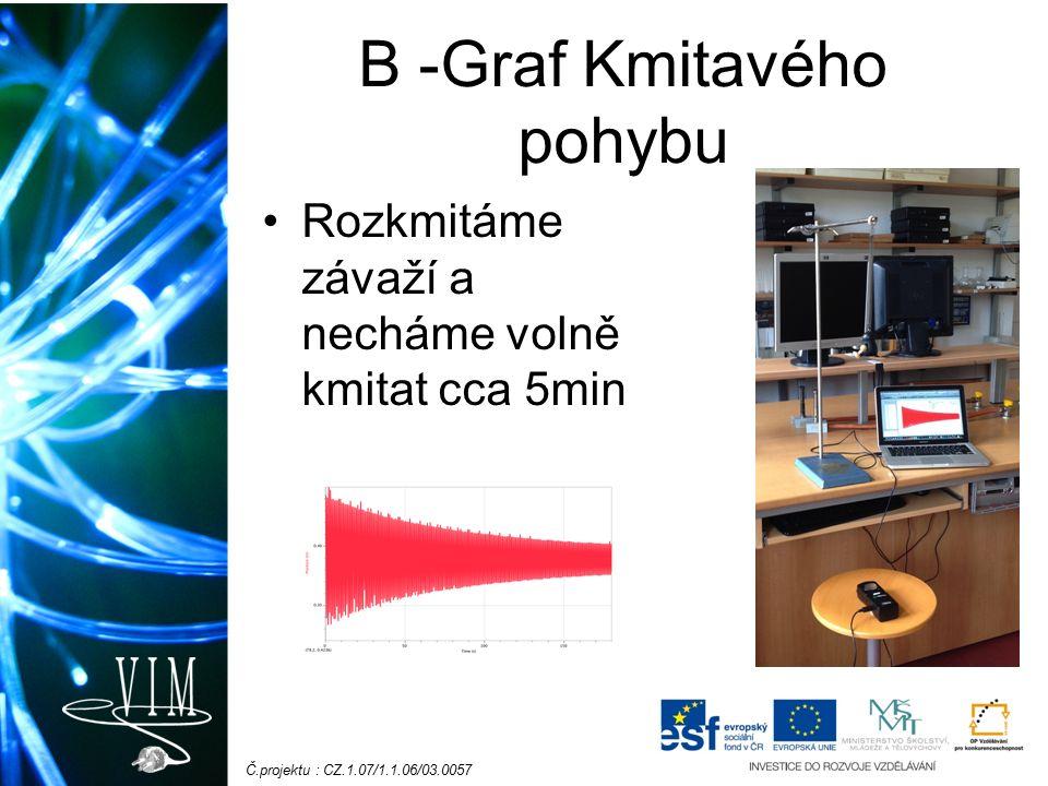 Č.projektu : CZ.1.07/1.1.06/03.0057 B -Graf Kmitavého pohybu Rozkmitáme závaží a necháme volně kmitat cca 5min