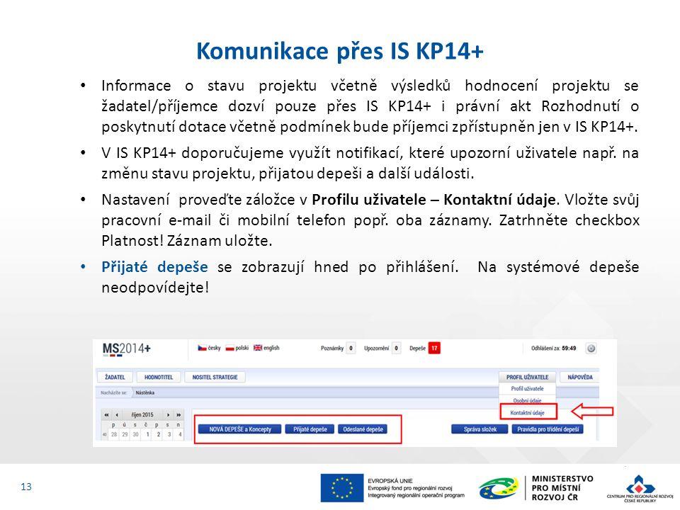 Informace o stavu projektu včetně výsledků hodnocení projektu se žadatel/příjemce dozví pouze přes IS KP14+ i právní akt Rozhodnutí o poskytnutí dotace včetně podmínek bude příjemci zpřístupněn jen v IS KP14+.