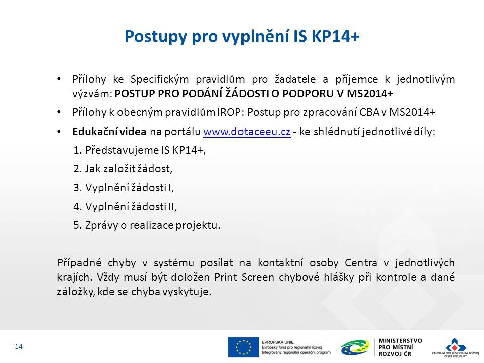 Přílohy ke Specifickým pravidlům pro žadatele a příjemce k jednotlivým výzvám: POSTUP PRO PODÁNÍ ŽÁDOSTI O PODPORU V MS2014+ Přílohy k obecným pravidlům IROP: Postup pro zpracování CBA v MS2014+ Edukační videa na portálu www.dotaceeu.cz - ke shlédnutí jednotlivé díly:www.dotaceeu.cz 1.