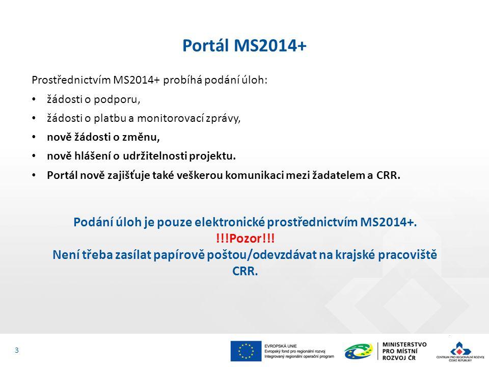 Prostřednictvím MS2014+ probíhá podání úloh: žádosti o podporu, žádosti o platbu a monitorovací zprávy, nově žádosti o změnu, nově hlášení o udržitelnosti projektu.
