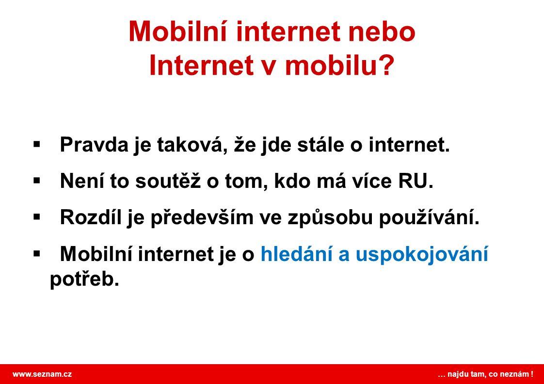 www.seznam.cz … najdu tam, co neznám . Mobilní internet nebo Internet v mobilu.