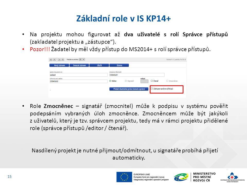 """Základní role v IS KP14+ 15 Na projektu mohou figurovat až dva uživatelé s rolí Správce přístupů (zakladatel projektu a """"zástupce""""). Pozor!!! Žadatel"""