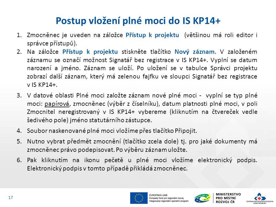 Postup vložení plné moci do IS KP14+ 17 1.Zmocněnec je uveden na záložce Přístup k projektu (většinou má roli editor i správce přístupů). 2.Na záložce