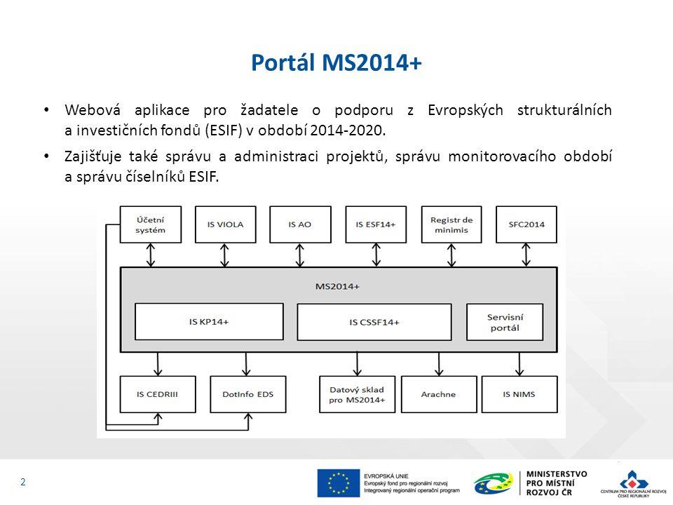 Webová aplikace pro žadatele o podporu z Evropských strukturálních a investičních fondů (ESIF) v období 2014-2020. Zajišťuje také správu a administrac