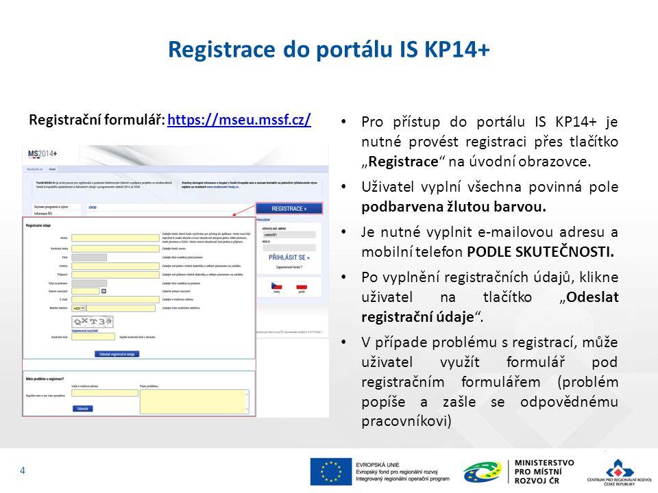 """Registrace do portálu IS KP14+ Po odeslání registračních údajů systém zašle na zadané telefonní číslo SMS s aktivačním klíčem a zobrazí v registračním formuláři nové pole """"Aktivační klíč ."""