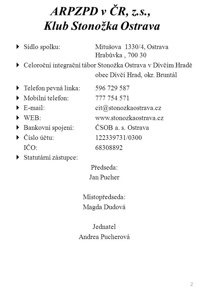 ARPZPD v ČR, z.s., Klub Stonožka Ostrava  Sídlo spolku: Mitušova 1330/4, Ostrava Hrabůvka, 700 30  Celoroční integrační tábor Stonožka Ostrava v Dív