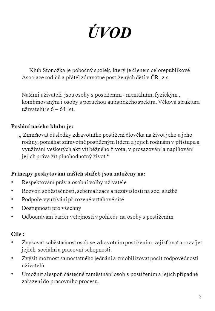 ÚVOD Klub Stonožka je pobočný spolek, který je členem celorepublikové Asociace rodičů a přátel zdravotně postižených dětí v ČR. z.s. Našimi uživateli