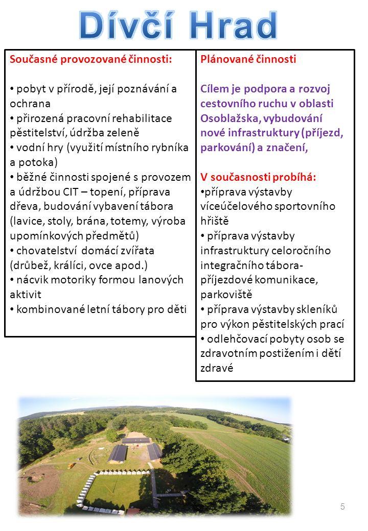 5 Současné provozované činnosti: pobyt v přírodě, její poznávání a ochrana přirozená pracovní rehabilitace pěstitelství, údržba zeleně vodní hry (využití místního rybníka a potoka) běžné činnosti spojené s provozem a údržbou CIT – topení, příprava dřeva, budování vybavení tábora (lavice, stoly, brána, totemy, výroba upomínkových předmětů) chovatelství domácí zvířata (drůbež, králíci, ovce apod.) nácvik motoriky formou lanových aktivit kombinované letní tábory pro děti Plánované činnosti Cílem je podpora a rozvoj cestovního ruchu v oblasti Osoblažska, vybudování nové infrastruktury (příjezd, parkování) a značení, V současnosti probíhá: příprava výstavby víceúčelového sportovního hřiště příprava výstavby infrastruktury celoročního integračního tábora- příjezdové komunikace, parkoviště příprava výstavby skleníků pro výkon pěstitelských prací odlehčovací pobyty osob se zdravotním postižením i dětí zdravé