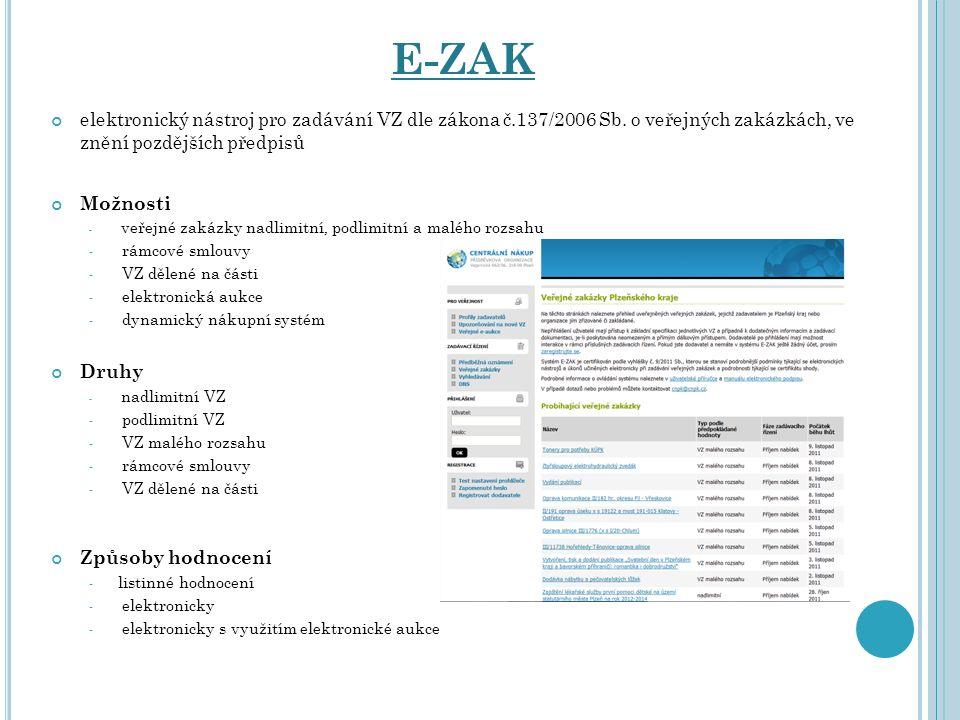 E-ZAK elektronický nástroj pro zadávání VZ dle zákona č.137/2006 Sb. o veřejných zakázkách, ve znění pozdějších předpisů Možnosti ‐ veřejné zakázky na