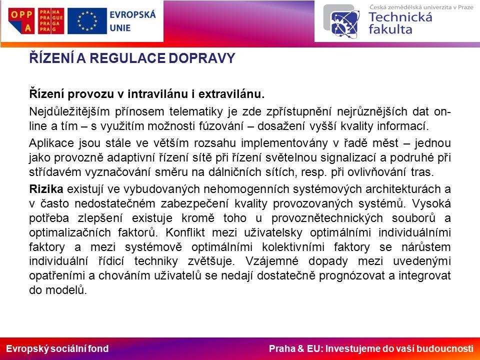 Evropský sociální fond Praha & EU: Investujeme do vaší budoucnosti ŘÍZENÍ A REGULACE DOPRAVY Řízení provozu v intravilánu i extravilánu.