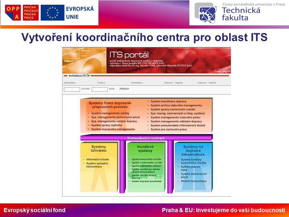 Evropský sociální fond Praha & EU: Investujeme do vaší budoucnosti Vytvoření koordinačního centra pro oblast ITS