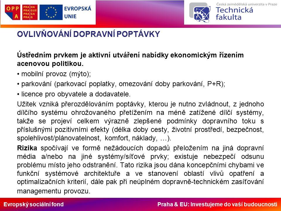 Evropský sociální fond Praha & EU: Investujeme do vaší budoucnosti OVLIVŇOVÁNÍ DOPRAVNÍ POPTÁVKY Ústředním prvkem je aktivní utváření nabídky ekonomickým řízením acenovou politikou.