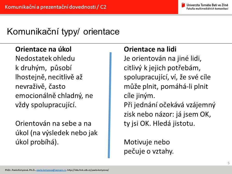 Komunikační typy/ orientace 5 PhDr. Pavla Kotyzová, Ph.D., pavla.kotyzova@seznam.cz, http://lide.fmk.utb.cz/pavla-kotyzova/pavla.kotyzova@seznam.cz Ko