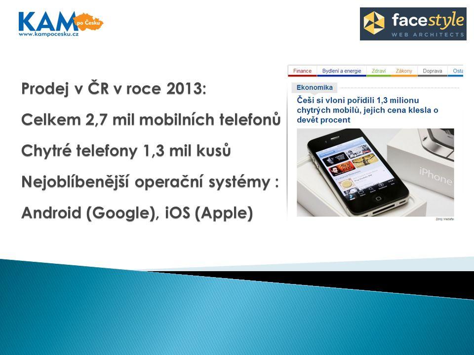Prodej v ČR v roce 2013: Celkem 2,7 mil mobilních telefonů Chytré telefony 1,3 mil kusů Nejoblíbenější operační systémy : Android (Google), iOS (Apple)