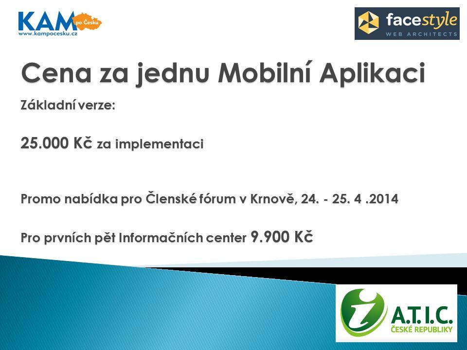 Cena za jednu Mobilní Aplikaci Základní verze: 25.000 Kč za implementaci Promo nabídka pro Členské fórum v Krnově, 24.
