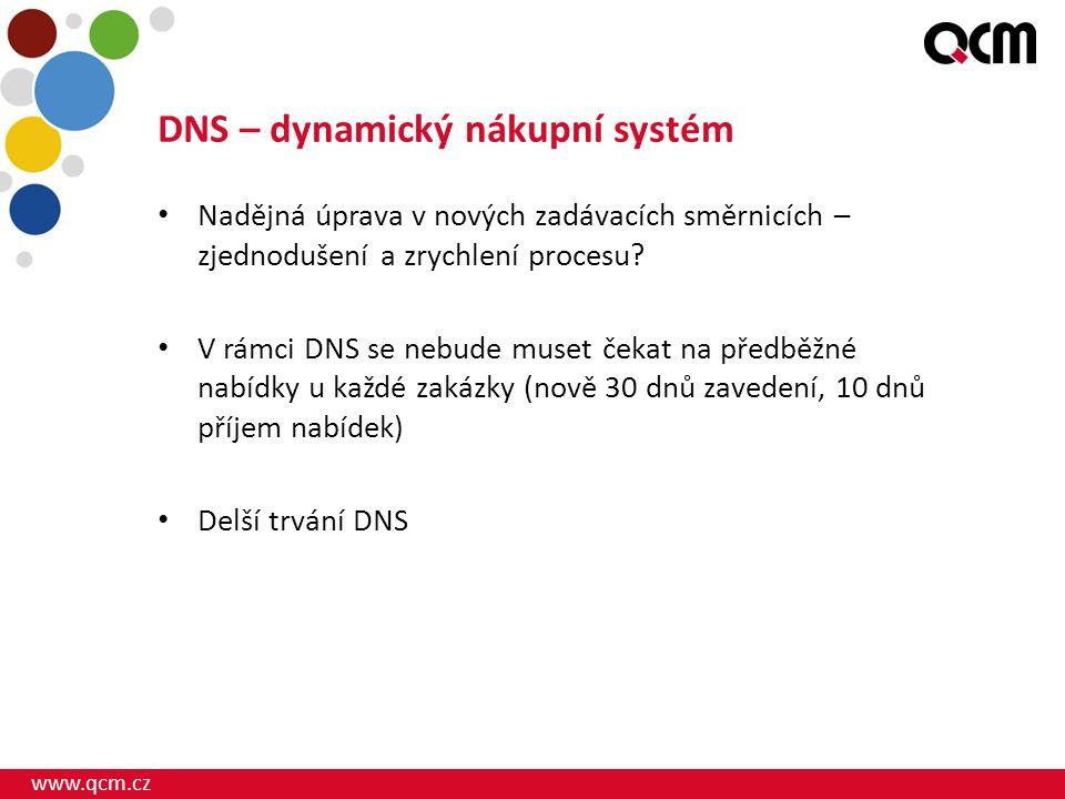 www.qcm.cz DNS – dynamický nákupní systém Nadějná úprava v nových zadávacích směrnicích – zjednodušení a zrychlení procesu? V rámci DNS se nebude muse