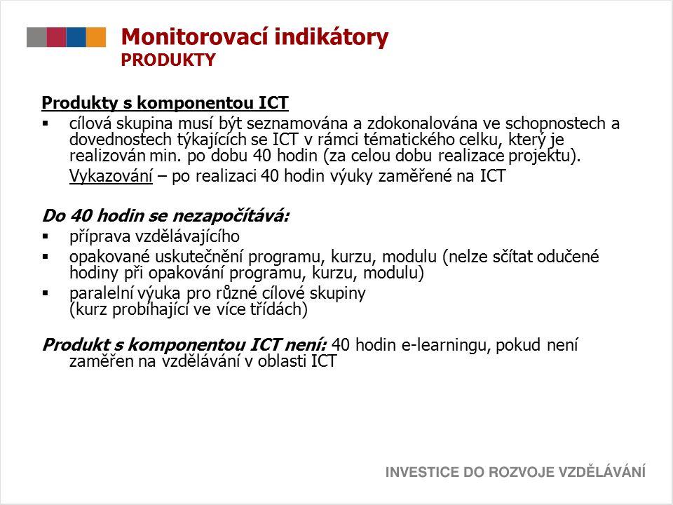 Monitorovací indikátory PRODUKTY Produkty s komponentou ICT  cílová skupina musí být seznamována a zdokonalována ve schopnostech a dovednostech týkajících se ICT v rámci tématického celku, který je realizován min.