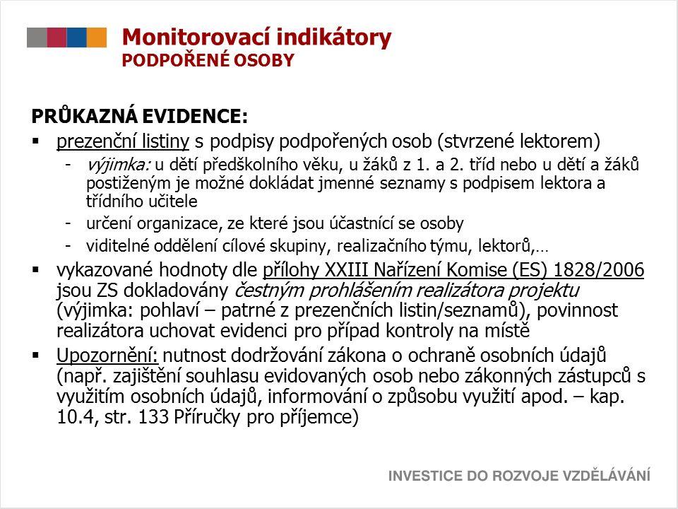 Monitorovací indikátory PODPOŘENÉ OSOBY PRŮKAZNÁ EVIDENCE:  prezenční listiny s podpisy podpořených osob (stvrzené lektorem) -výjimka: u dětí předškolního věku, u žáků z 1.