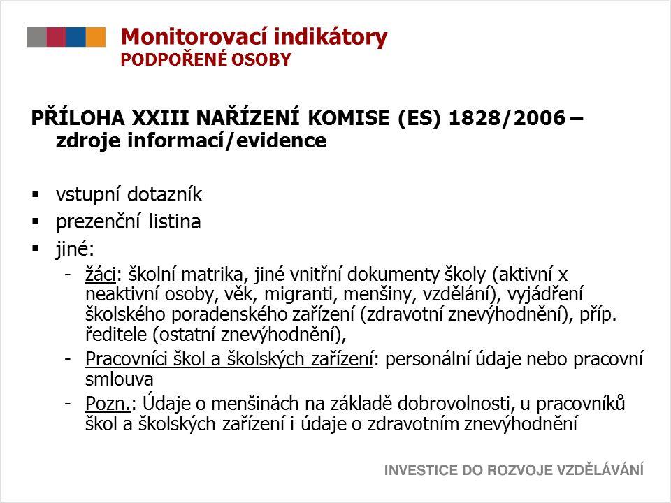 Monitorovací indikátory PODPOŘENÉ OSOBY PŘÍLOHA XXIII NAŘÍZENÍ KOMISE (ES) 1828/2006 – zdroje informací/evidence  vstupní dotazník  prezenční listina  jiné: -žáci: školní matrika, jiné vnitřní dokumenty školy (aktivní x neaktivní osoby, věk, migranti, menšiny, vzdělání), vyjádření školského poradenského zařízení (zdravotní znevýhodnění), příp.