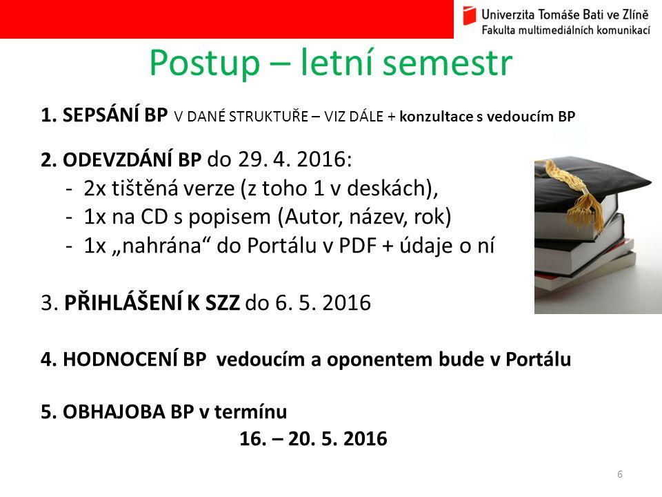 Postup – letní semestr 1. SEPSÁNÍ BP V DANÉ STRUKTUŘE – VIZ DÁLE + konzultace s vedoucím BP 2.