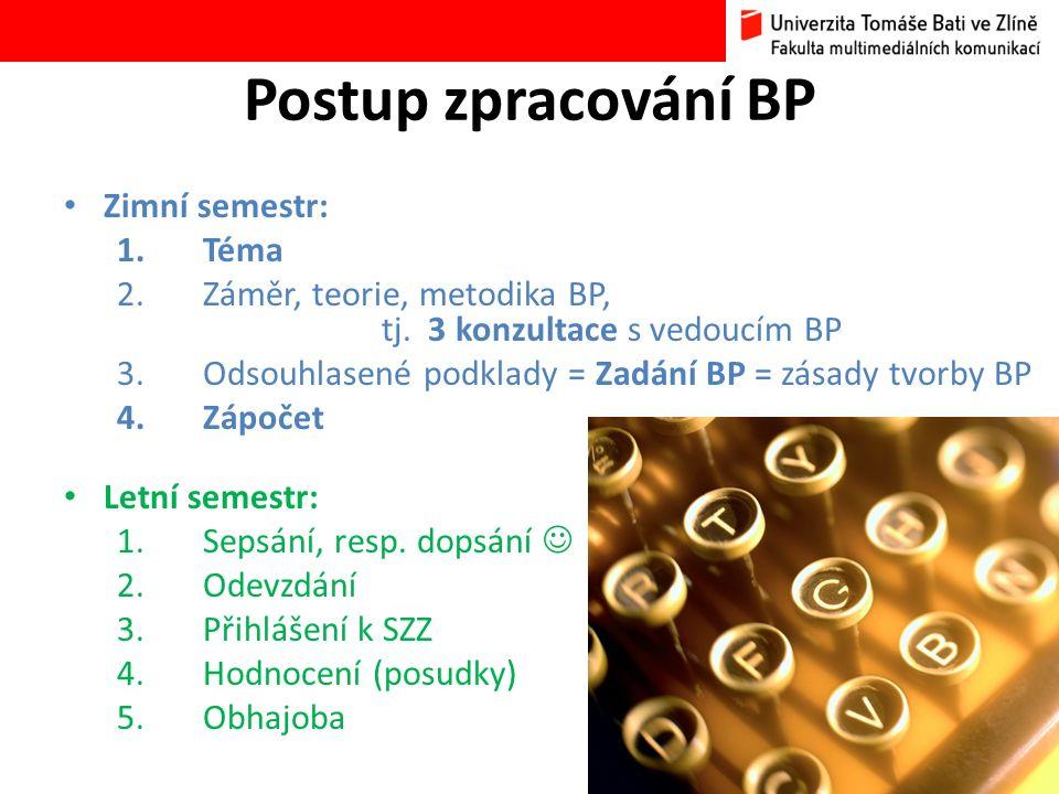 Zimní semestr: 1.Téma 2.Záměr, teorie, metodika BP, tj.