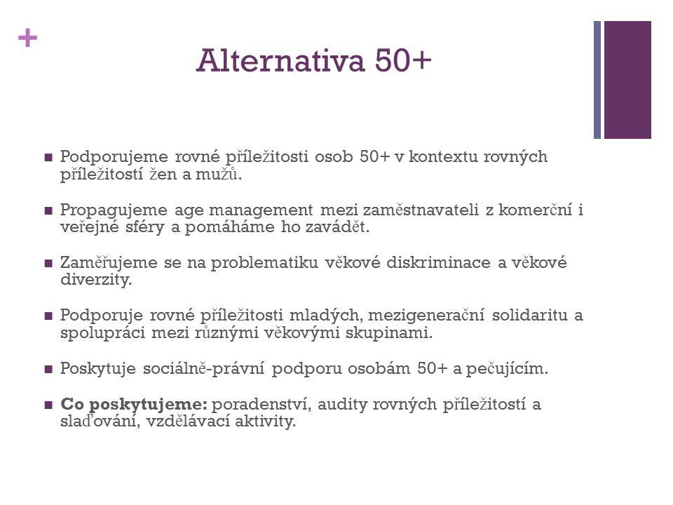 + Alternativa 50+ Podporujeme rovné p ř íle ž itosti osob 50+ v kontextu rovných p ř íle ž itostí ž en a mu žů.