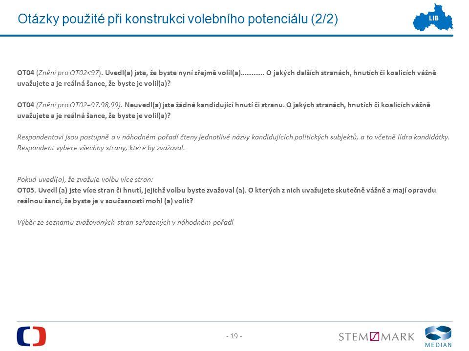 - 19 - LIB Otázky použité při konstrukci volebního potenciálu (2/2) OT04 (Znění pro OT02<97).