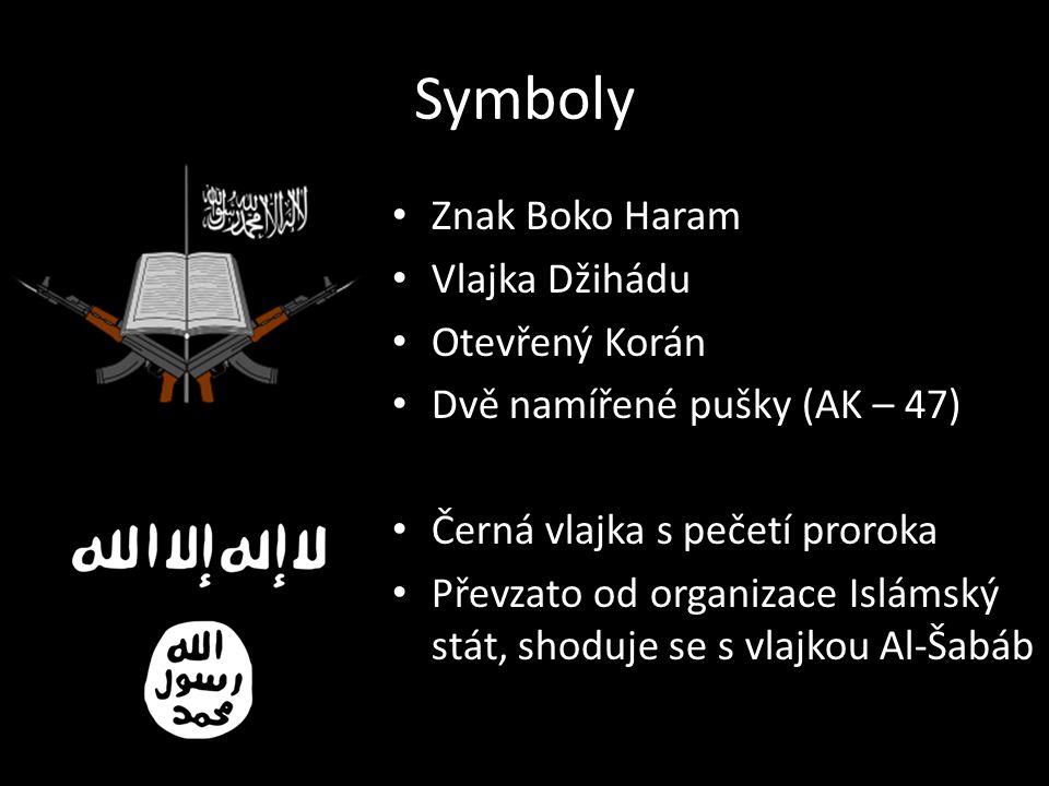 Symboly Znak Boko Haram Vlajka Džihádu Otevřený Korán Dvě namířené pušky (AK – 47) Černá vlajka s pečetí proroka Převzato od organizace Islámský stát, shoduje se s vlajkou Al-Šabáb