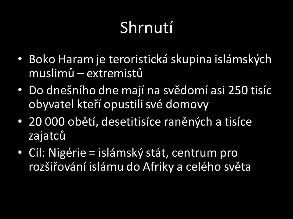 Shrnutí Boko Haram je teroristická skupina islámských muslimů – extremistů Do dnešního dne mají na svědomí asi 250 tisíc obyvatel kteří opustili své domovy 20 000 obětí, desetitisíce raněných a tisíce zajatců Cíl: Nigérie = islámský stát, centrum pro rozšiřování islámu do Afriky a celého světa
