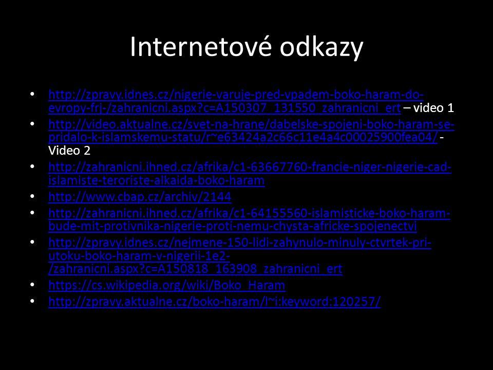 Internetové odkazy http://zpravy.idnes.cz/nigerie-varuje-pred-vpadem-boko-haram-do- evropy-frj-/zahranicni.aspx?c=A150307_131550_zahranicni_ert – vide