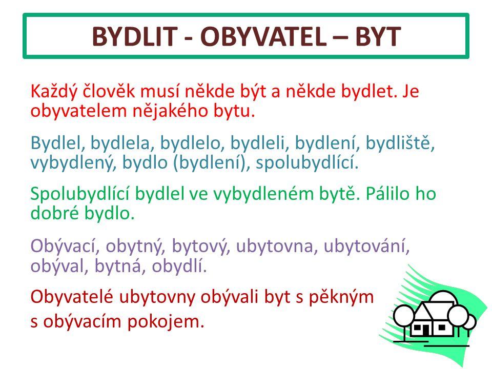 BYDLIT - OBYVATEL – BYT Každý člověk musí někde být a někde bydlet. Je obyvatelem nějakého bytu. Bydlel, bydlela, bydlelo, bydleli, bydlení, bydliště,