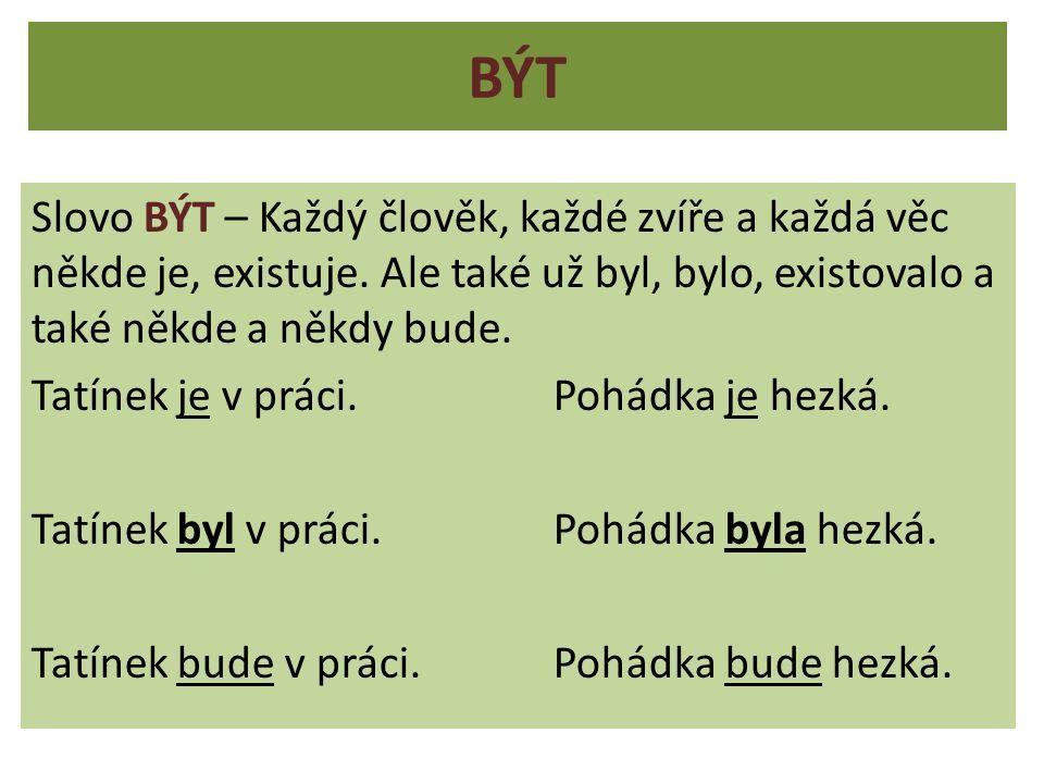 Sloveso BÝT má mnoho podob.Zkuste vymyslet věty s těmito slovy.