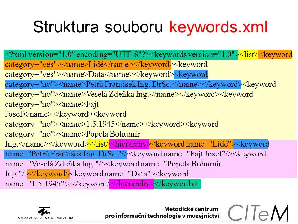 Struktura souboru keywords.xml Lidé <keyword category= yes > Data Petrů František Ing.