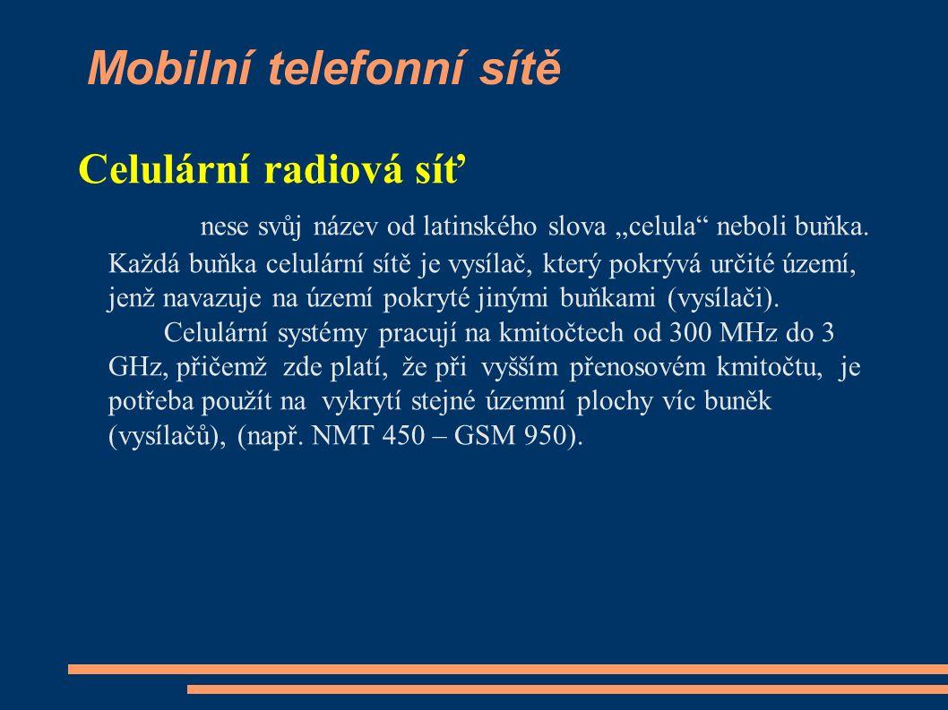 """Mobilní telefonní sítě Celulární radiová síť nese svůj název od latinského slova """"celula"""" neboli buňka. Každá buňka celulární sítě je vysílač, který p"""