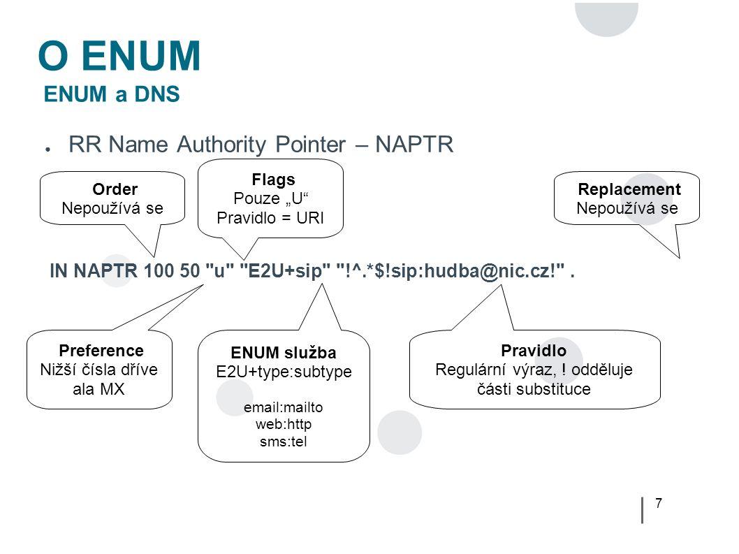 18 User ENUM Problém? ● Znalost ENUM – Firmy (Digimark 1/2008)