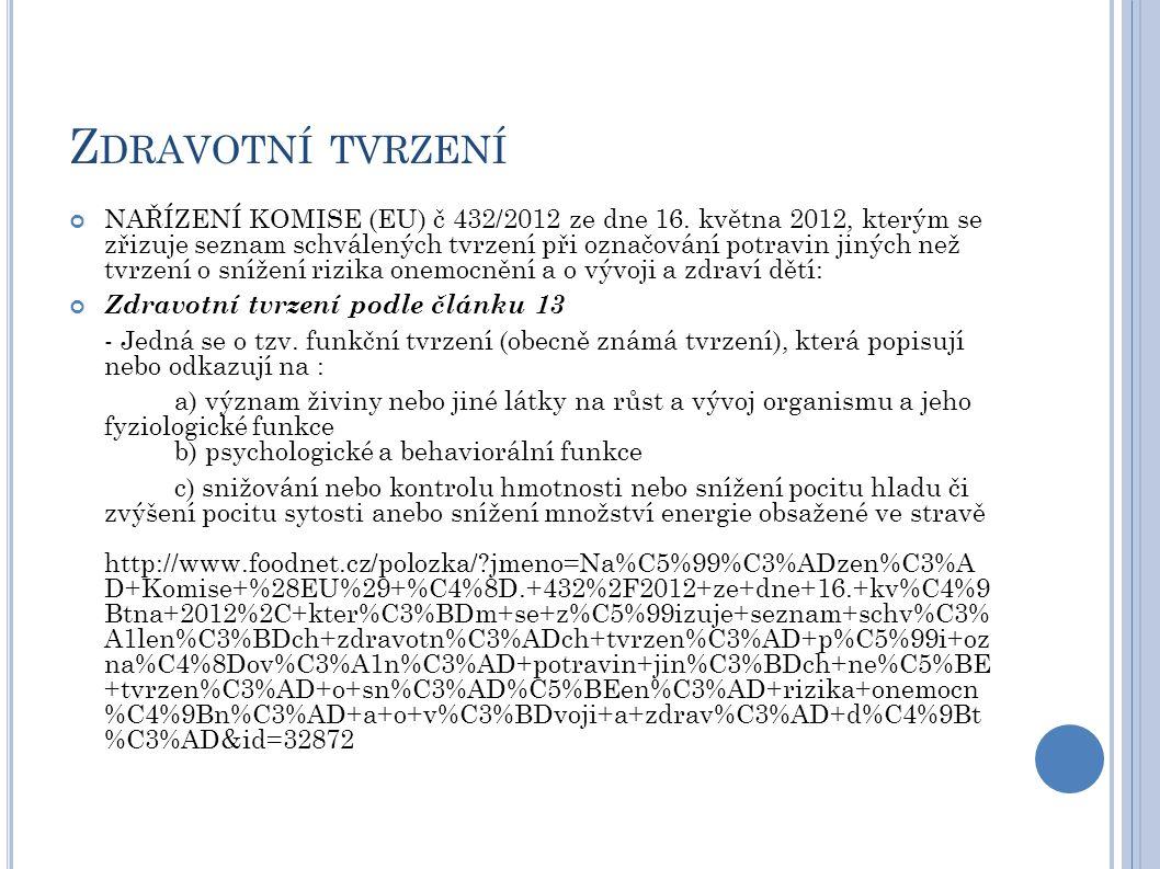 Z DRAVOTNÍ TVRZENÍ NAŘÍZENÍ KOMISE (EU) č 432/2012 ze dne 16.