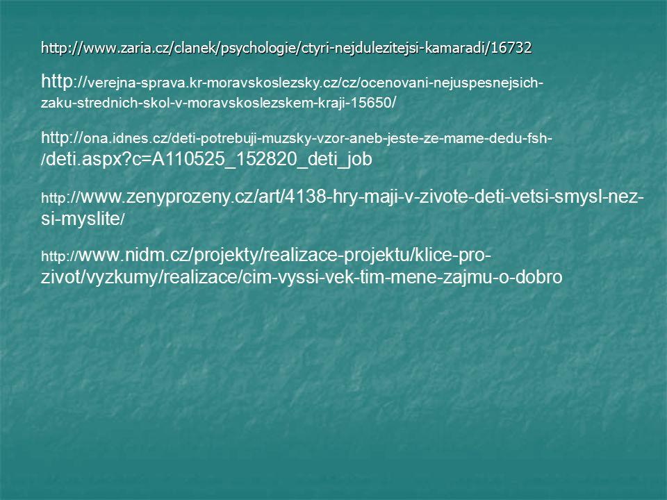 http://www.zaria.cz/clanek/psychologie/ctyri-nejdulezitejsi-kamaradi/16732 http :// verejna-sprava.kr-moravskoslezsky.cz/cz/ocenovani-nejuspesnejsich- zaku-strednich-skol-v-moravskoslezskem-kraji-15650 / http:// www.nidm.cz/projekty/realizace-projektu/klice-pro- zivot/vyzkumy/realizace/cim-vyssi-vek-tim-mene-zajmu-o-dobro http:// ona.idnes.cz/deti-potrebuji-muzsky-vzor-aneb-jeste-ze-mame-dedu-fsh- / deti.aspx c=A110525_152820_deti_job http :// www.zenyprozeny.cz/art/4138-hry-maji-v-zivote-deti-vetsi-smysl-nez- si-myslite /